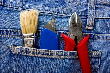 Tools in a pocket  jeans photo