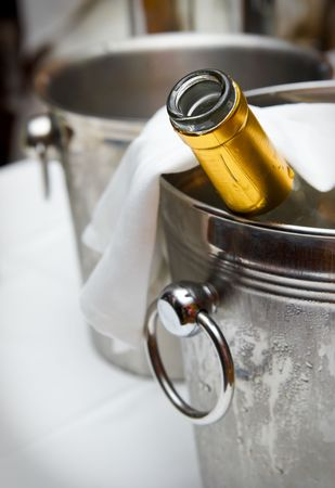 Bucket with an ice for cooling drinks photo