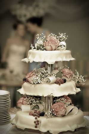 Wedding pie with roses and berries Stock Photo - 5913500