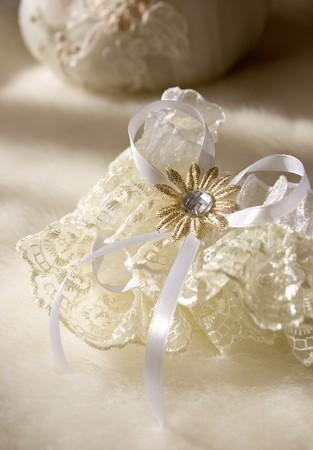Wedding garter of the bride photo