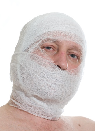 a man bandaged up with a head injury Stock Photo - 8727336