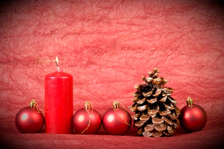 The cone and toys on a red background. christmas  style Stock Photo - 8725631