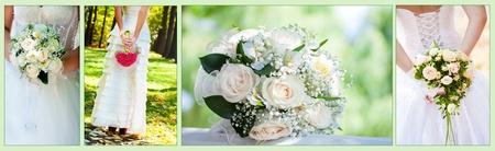 c�r�monie mariage: Bouquet de mariage de collage Banque d'images