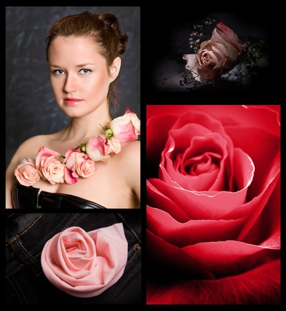The elegant caucasian young girl against from rose photo