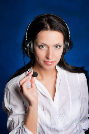 Beautiful Teen Girl With Headset Over photo