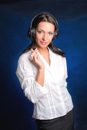 Beautiful Teen Girl With Headset Over Stock Photo - 13306082