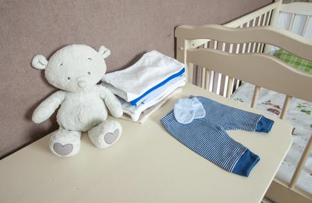 The modern children's nursery with a dresser
