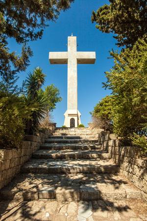 Big Cross at Mount Filerimos on the Island of Rhodes, Greece 写真素材
