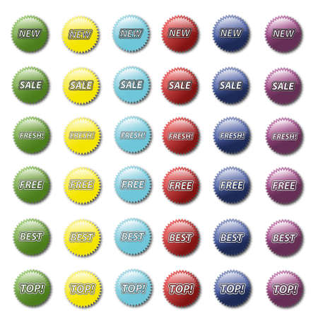 Set of various colored modern sticker icons Stock Photo - 14686442