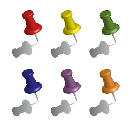 Vector nota di carta raccolta con push pin