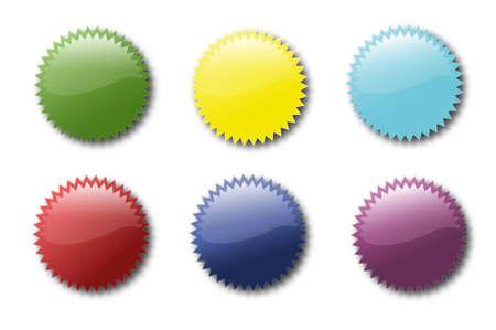 Set di icone di diversi adesivi colorati Vettoriali