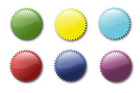 Set of various colored sticker icons Illustration