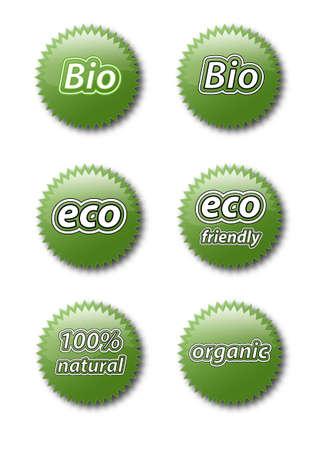 Set of various bio natural organic icons