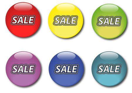 Set of vaus colored sticker icons sale Stock Vector - 14791516