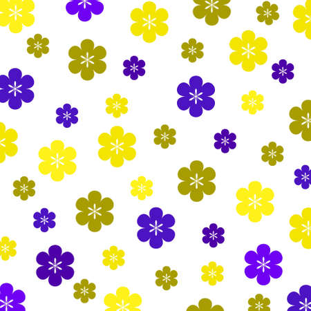 A background pattern featuring an assortment of retro-style spring coloured flowers