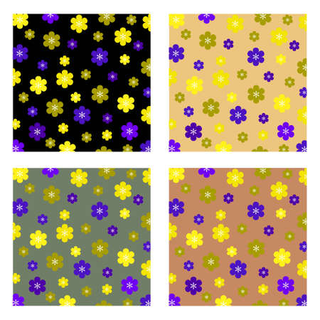 A background pattern featuring an assortment of retro-style spring coloured flowers  Stock Vector - 14791510