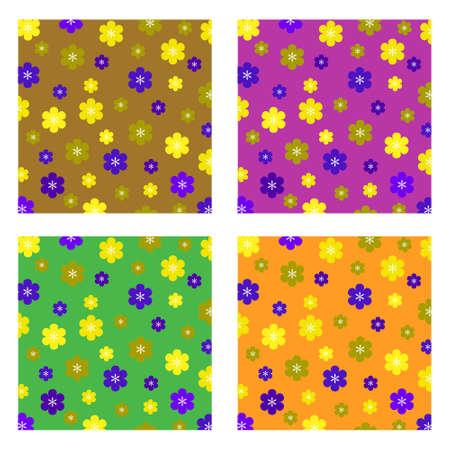Un motivo di sfondo che offre un'ampia scelta di stile retr� fiori colorati Vettoriali