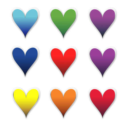 corazones de colores aislados en blanco