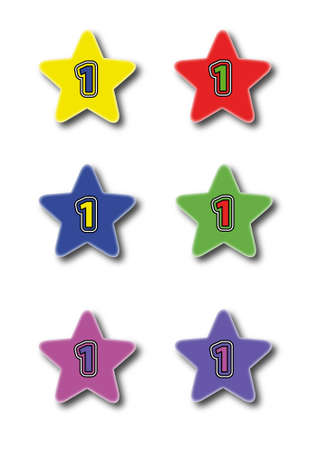 Star icons isolated on white with nuber one Stock Vector - 14791634