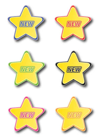 Star icons isolated on white with text new Stock Vector - 14791677