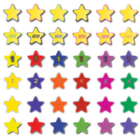 Set of various colored star icons  Illustration