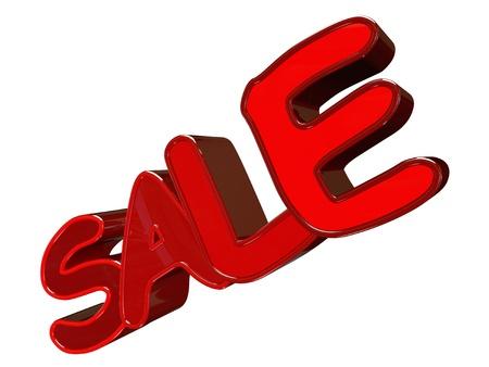 Testo di vendita 3d isolato su sfondo bianco