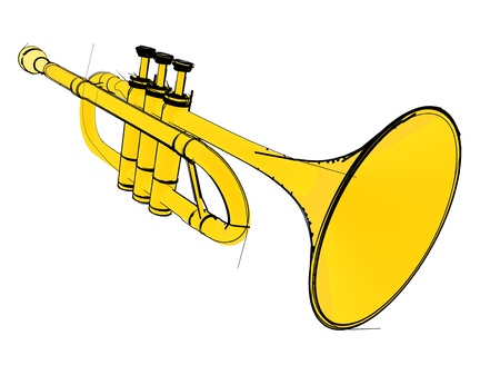 louis armstrong: Trumpet isolated on white background