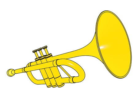 Trumpet isolated on white background