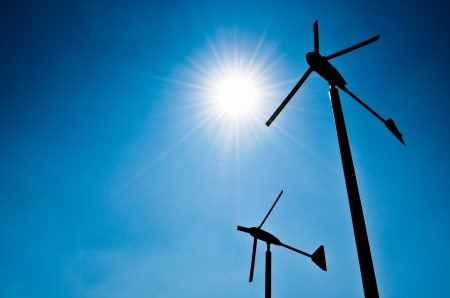 electric generating plant: wind energy is a natural and fresh new energy to the environment Stock Photo