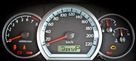 close up image of illuminated car dashboard