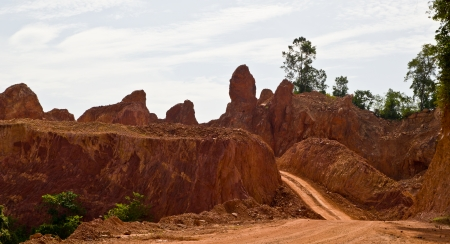 access road to rock mining in thailand photo