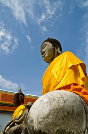 worshiped: buddha statue in Wat Phra Borommathat Chaiya province Suratthani people worshiped in Thailand