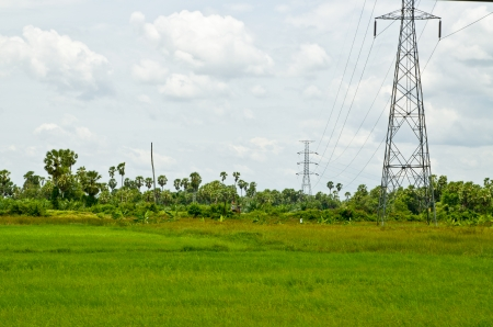 electric high voltage post with landscape background photo
