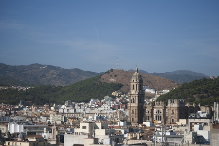malaga: View of Malaga city, mountains and cathedral
