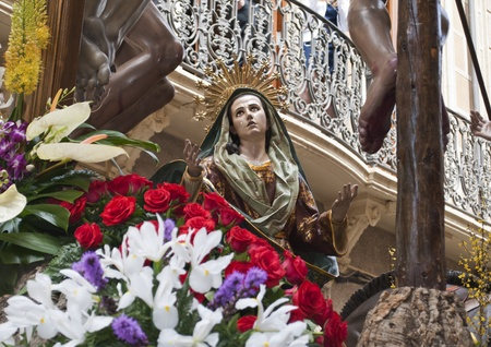 Pain of Virgin Maria in Holy Week procession in Jumilla  Spain