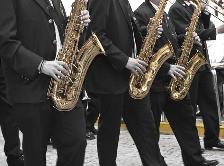 procession: Los trompetistas durante procesi�n de Semana Santa de Jumilla Espa�a