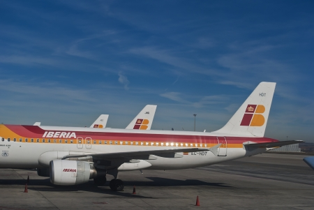 APRIL 2012, Madrid: Iberia cancels many flights due to pilot strikes in protest for the low cost branch Iberia Express Stock Photo - 13154456