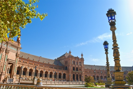 lampost: Spain square in Seville in the morning