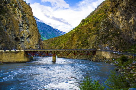 dagestan: Bridge over the rough mountain river