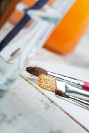glas: Brushes in a glas on a canvas