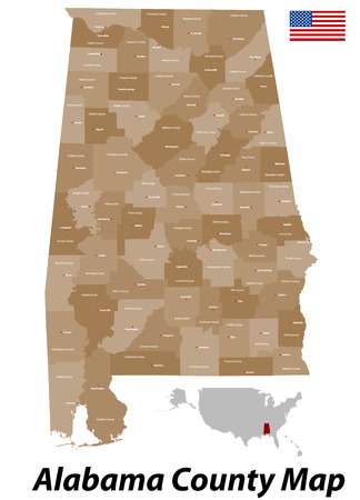 Map of California with counties and cities  Illustration