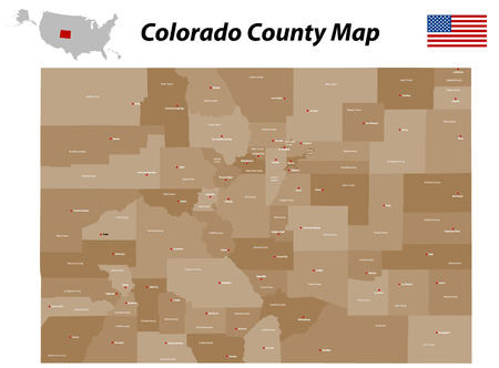 fort logan colorado: Colorado county map Illustration