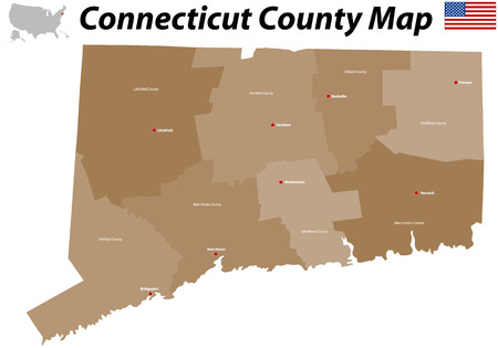 Connecticut county map Illustration