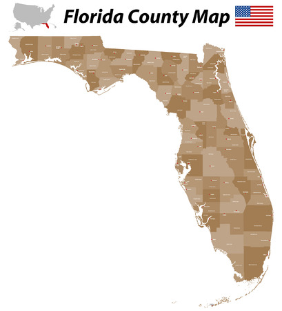 orange county: A large detailed and colored map of the State of Florida
