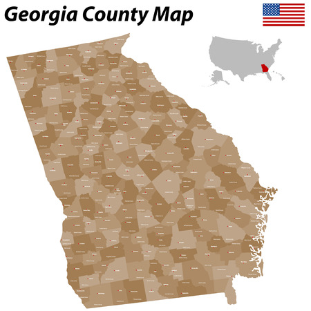 albany: A large detailed and colored map of the State of Georgia with all counties and main cities  Illustration