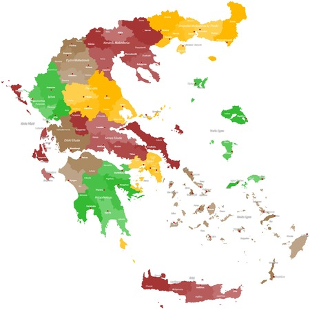 political division: Map of Greece Illustration