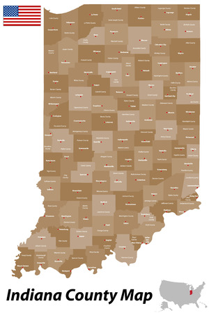 hamilton: A detailed map of the State of Indiana with all counties and main cities  Illustration