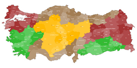 regions: Detailed map of Turkey