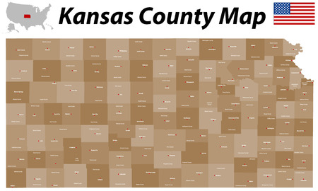 dodge: A large, detailed and colorful map of the State of Kansas with all counties and main cities
