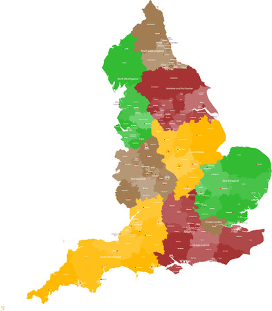 A large, detailed and colored map of England with all counties and main cities  Illustration